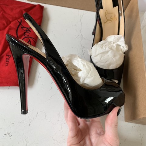 1a406624f9 These are the peep toe Christian Louboutin slingbacks in the - Depop