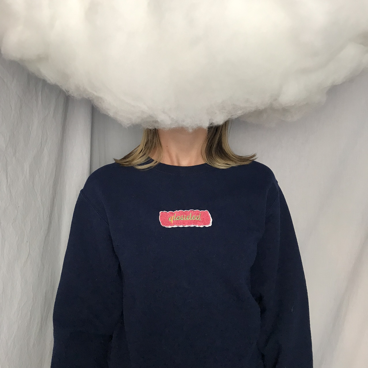 Product Image 1 - Navy crewneck sweater. Pink embroidery