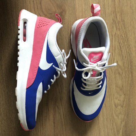 58a8b936a4 Nike Air Max Thea. Size uk 4, Womens. Pink, White and Blue. - Depop