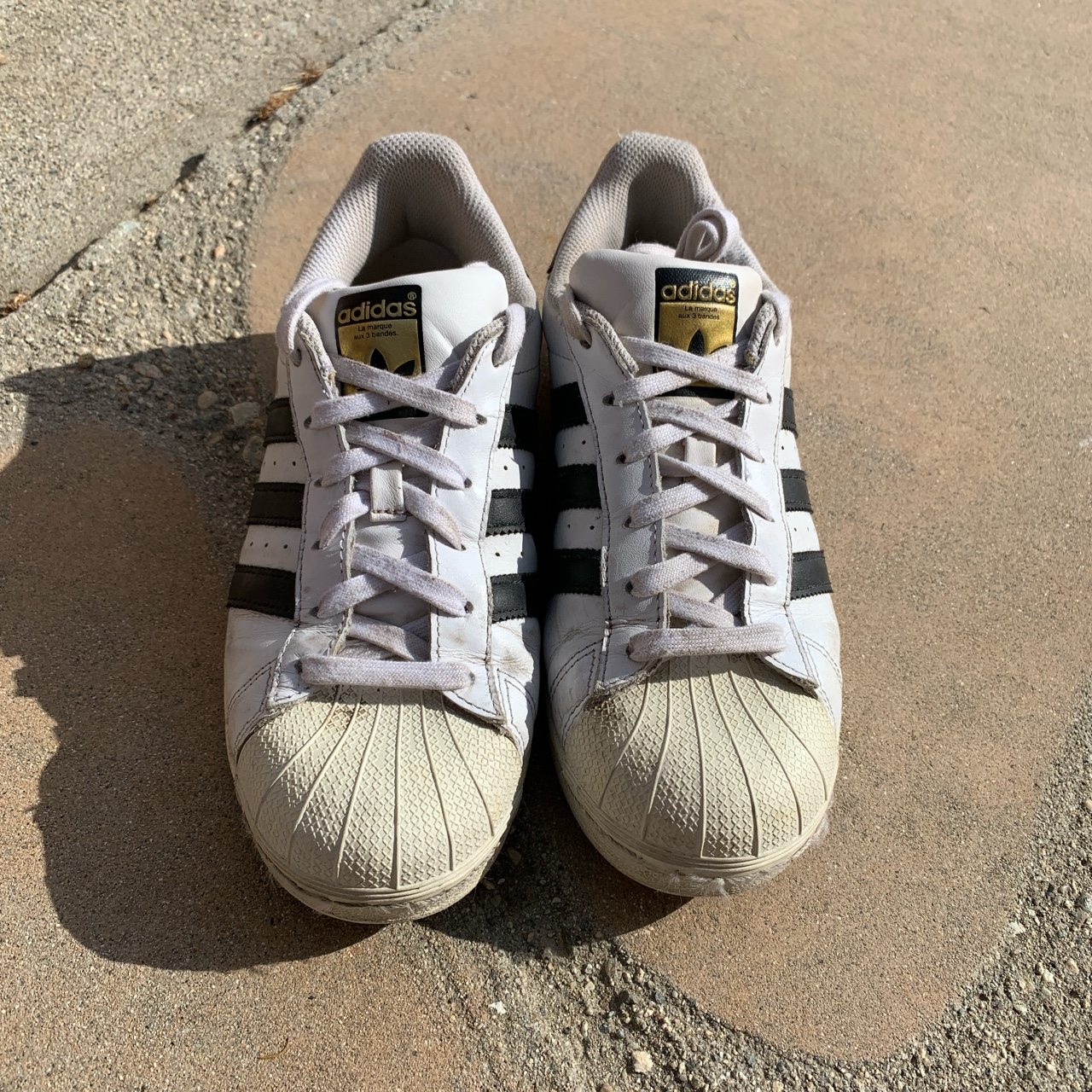 Product Image 1 - Adidas superstar sneakers  fair used condition.