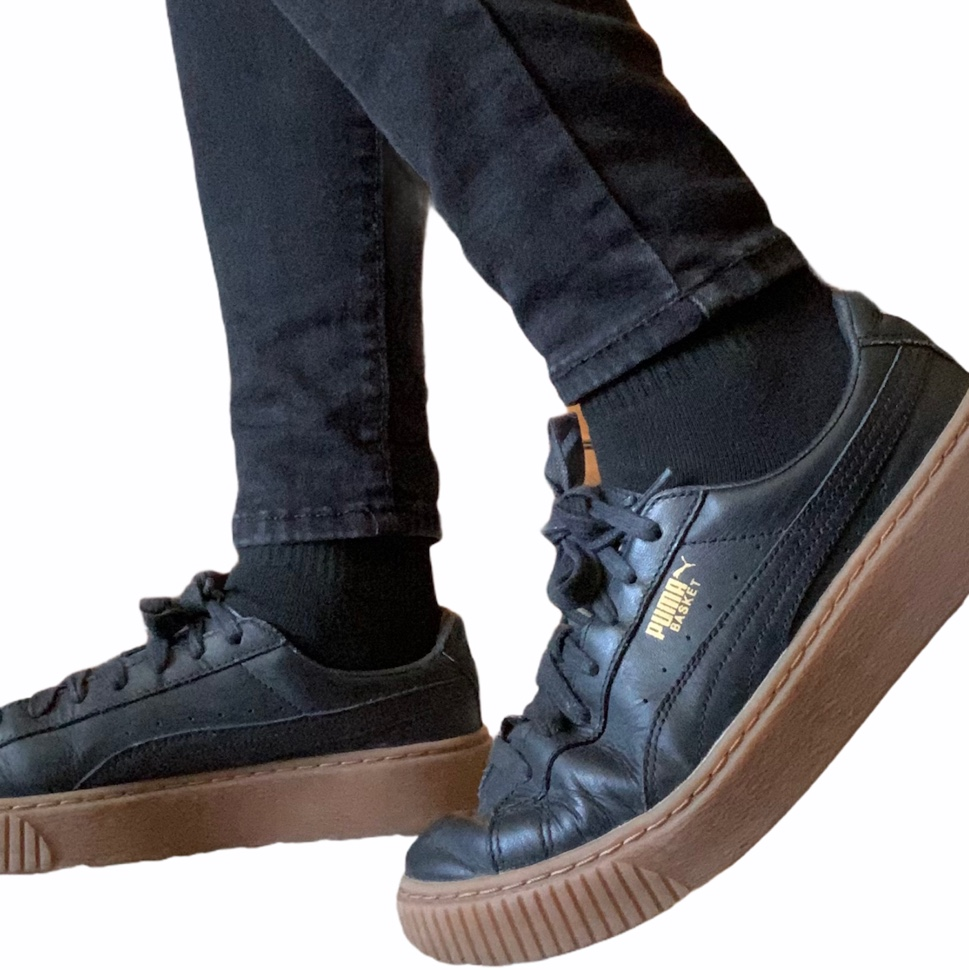 Product Image 1 - Black and Tan Leather Pumas  -preloved,
