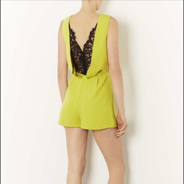 TOPSHOP. Lime Green Lace Back Playsuit. ...