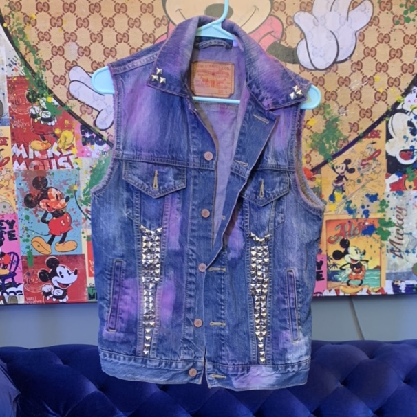 Product Image 1 - Studded jean vest with pink