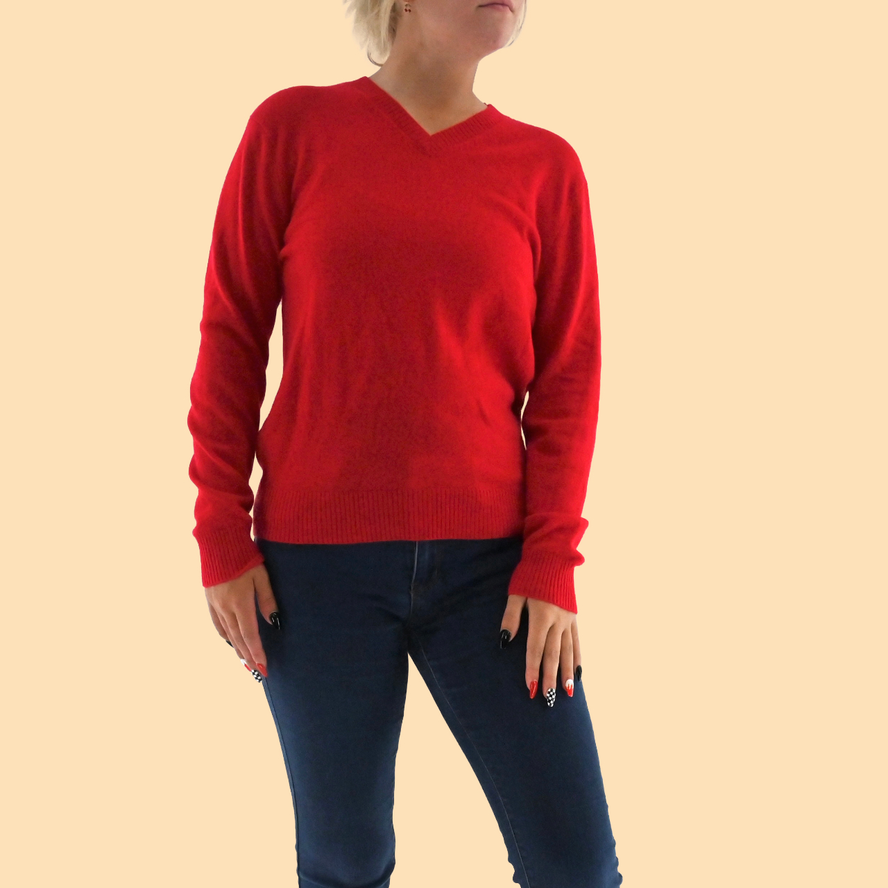 Product Image 1 - MAGASCHONI Red Cashmere V-Neck Long