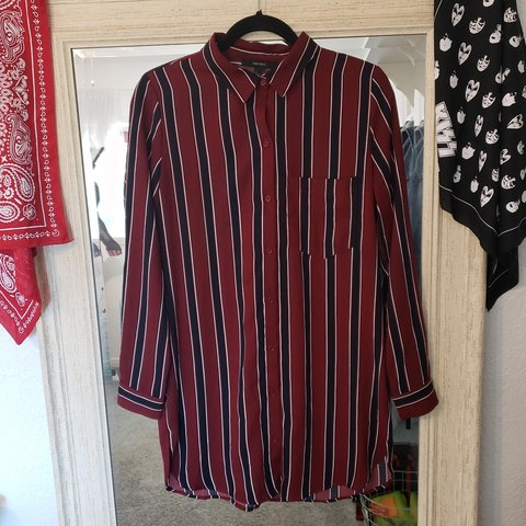 e5b3990e Forever 21 burgundy, navy and white striped shirt dress. and - Depop