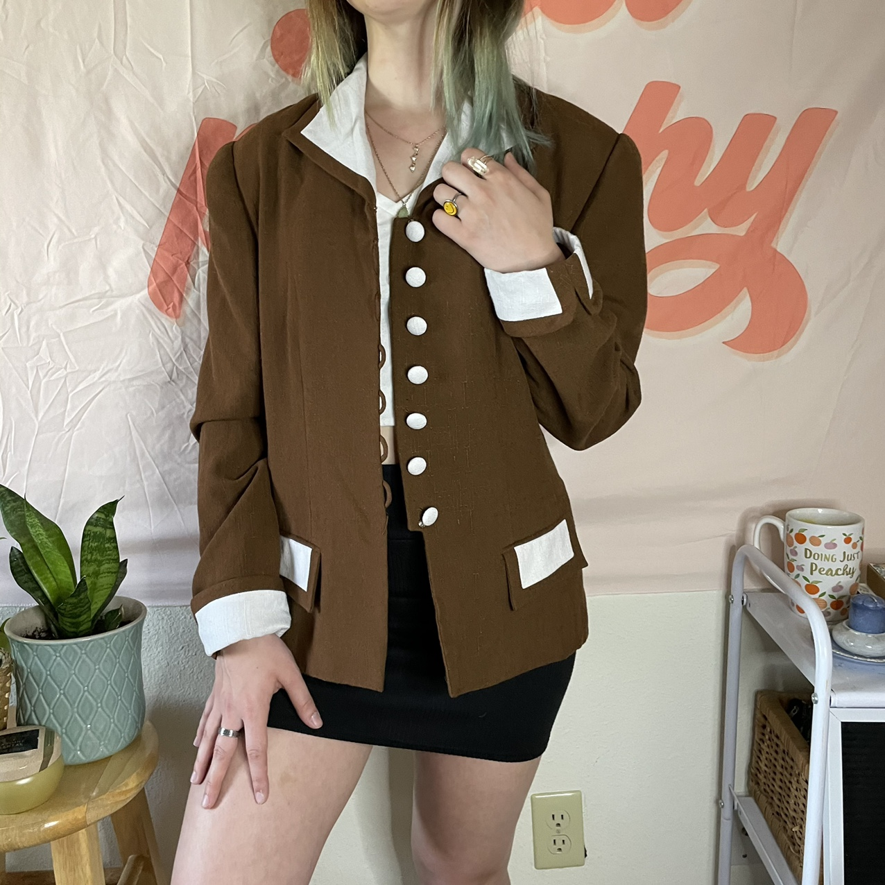 Product Image 1 - Brown and white vintage blazer