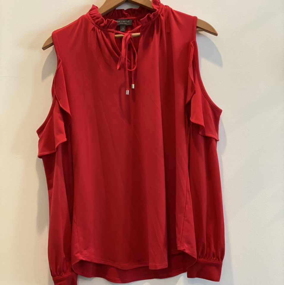 Product Image 1 - Red Cold Shoulder Top Size xsmall Brand: