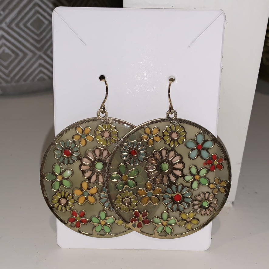 Product Image 1 - 70s flower stained earrings 💝 muted