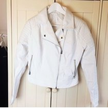 Atmosphere / Primark white leather jacket size 10 but more like a 6/8 as it is very small fitting. Really clean and in very good condition, only been worn