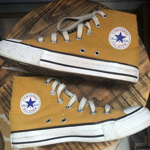 e9130f34f52f @morganskyler. in 21 hours. United States. Mustard Yellow Converse High Top  ...