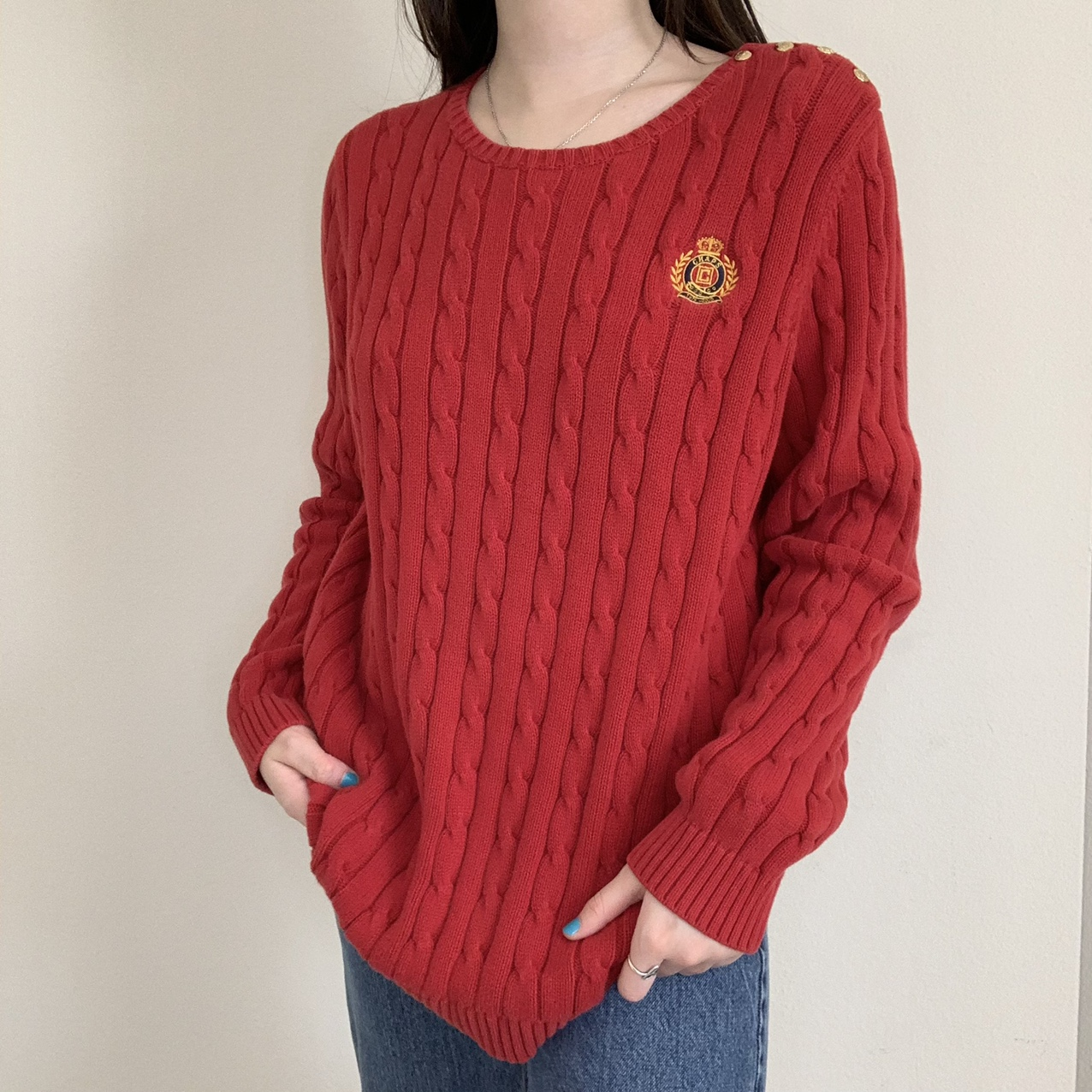 Product Image 1 - Chaps Red Cableknit Thick Heavy
