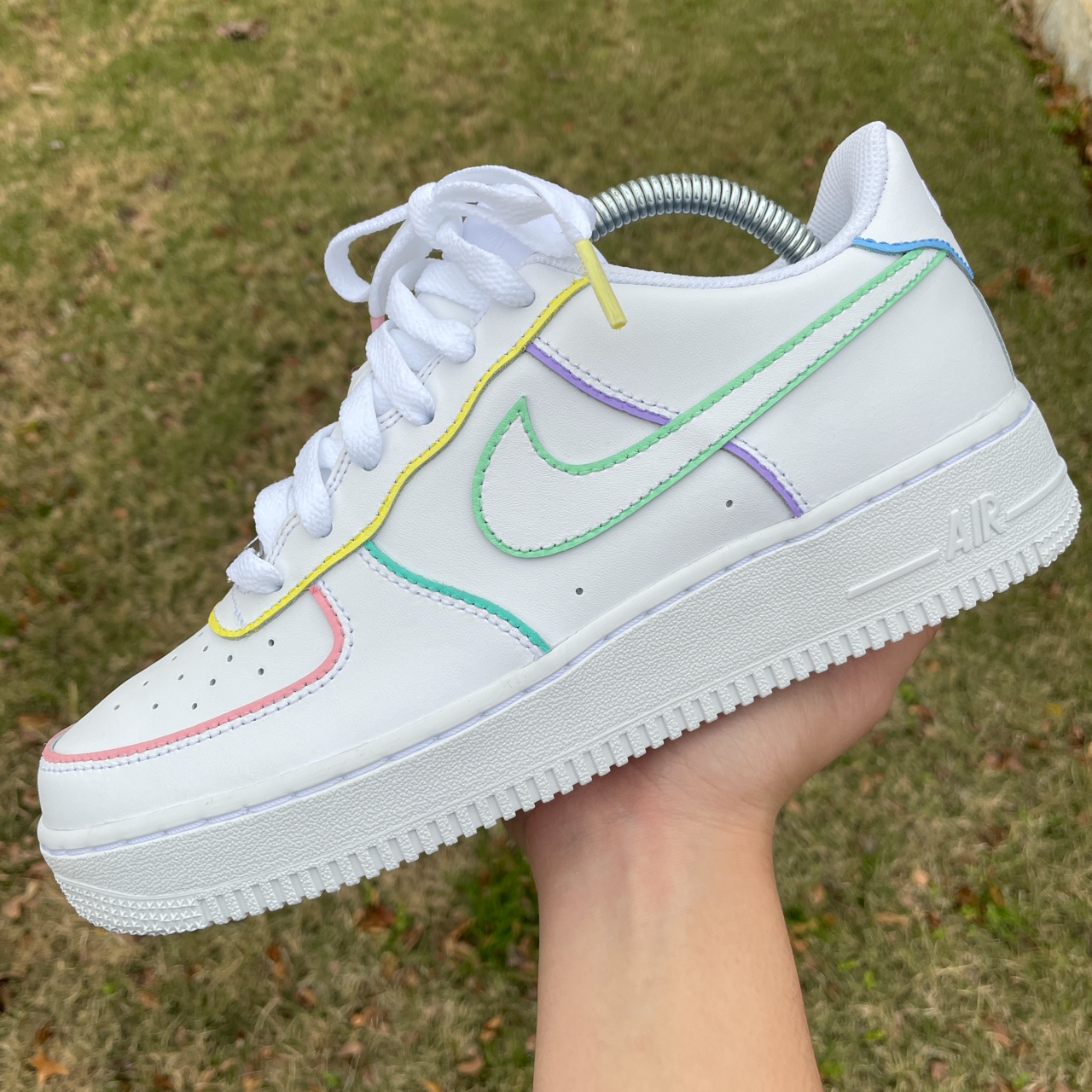 Nike Air Force 1 pastel outline will use angelus... - Depop
