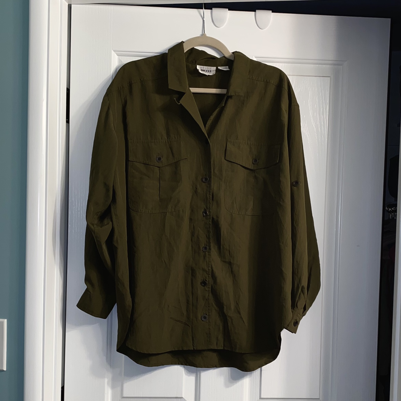Product Image 1 - vintage olive green button-up long-sleeve🍀