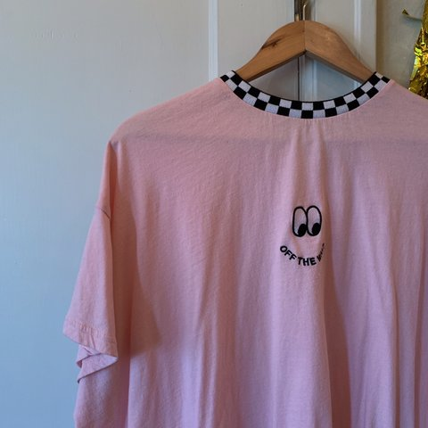 323a25d5 @piss. 14 days ago. Portland, United States. lazy oaf x vans collab.  oversize baby pink tee with checkerboard collarand embroidered logo. not  sold anymore! ...
