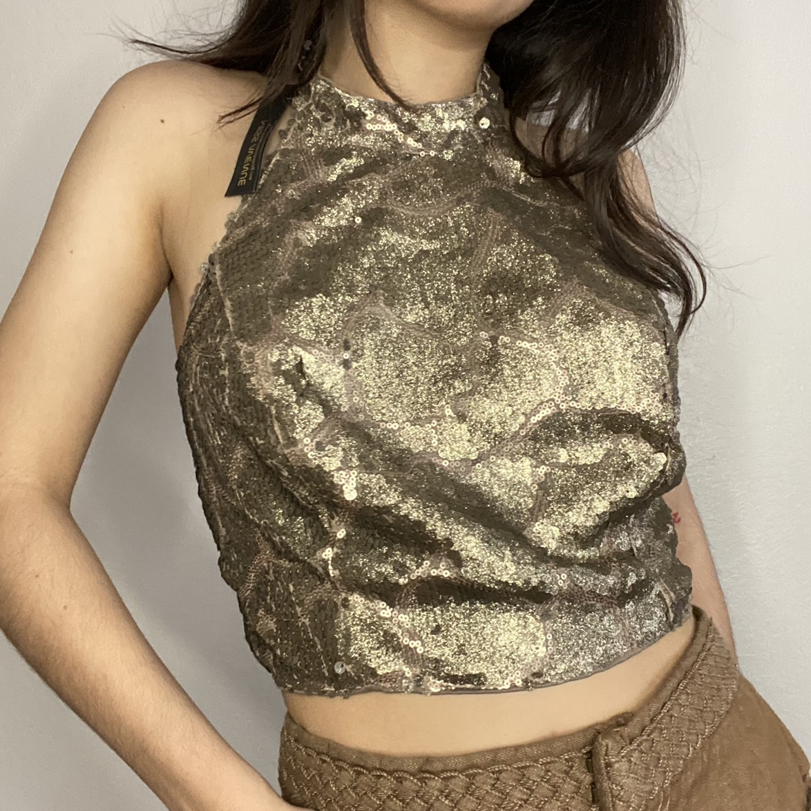 Product Image 1 - Gold halter top🖤 This gold sequin