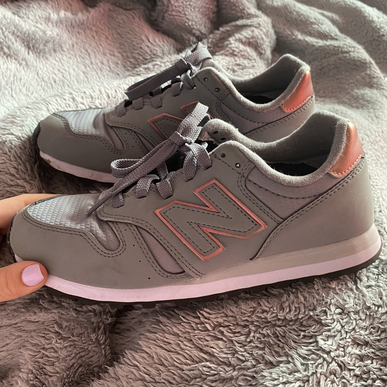 Grey and rose gold new balance 273 trainers. Worn a... - Depop
