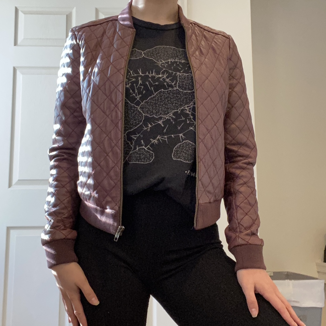 Product Image 1 - wine colored quilted leather jacket such