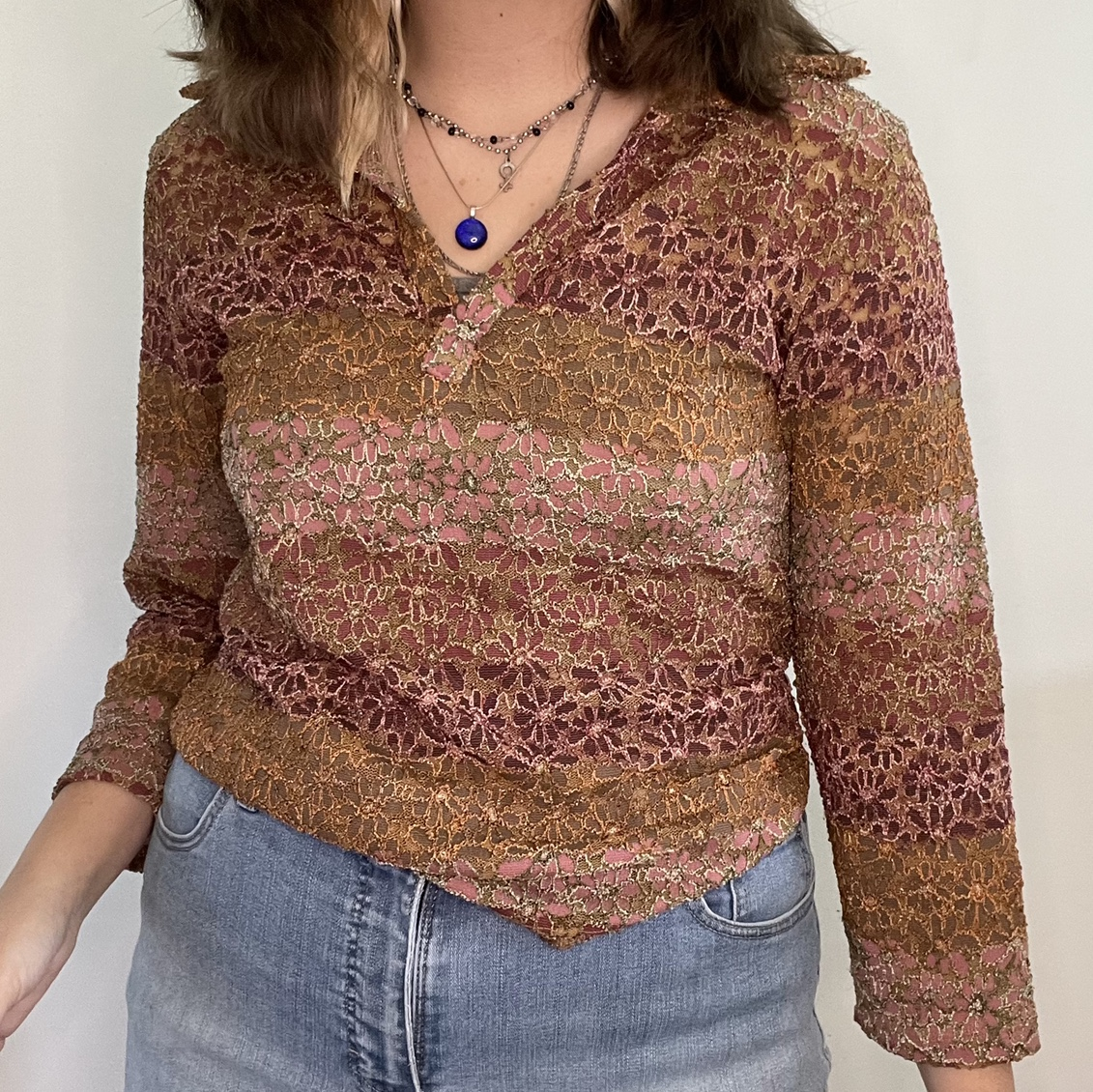 Product Image 1 - Y2K Crochet Pink Floral Top