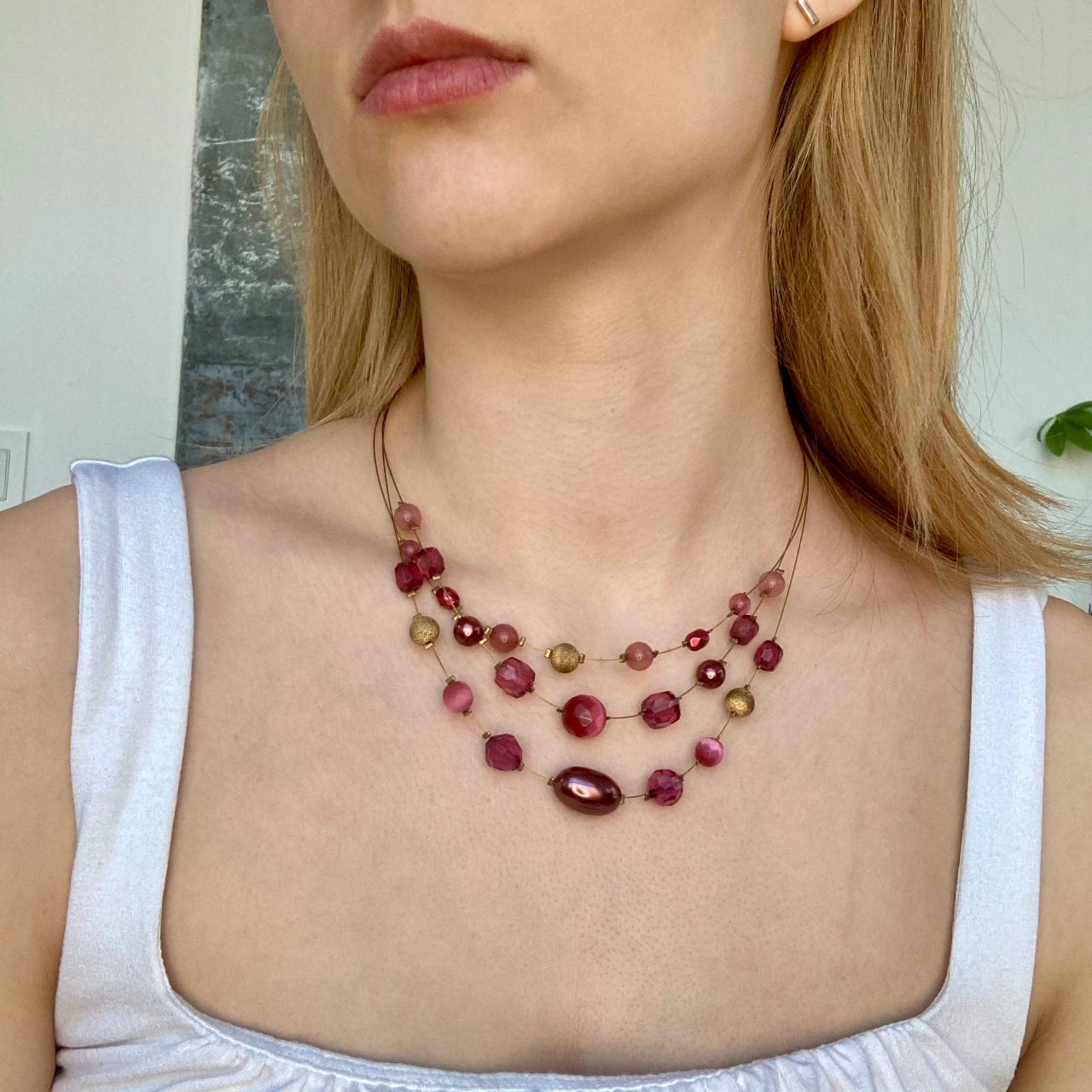 Product Image 1 - Red and Purple Beaded Necklace  So