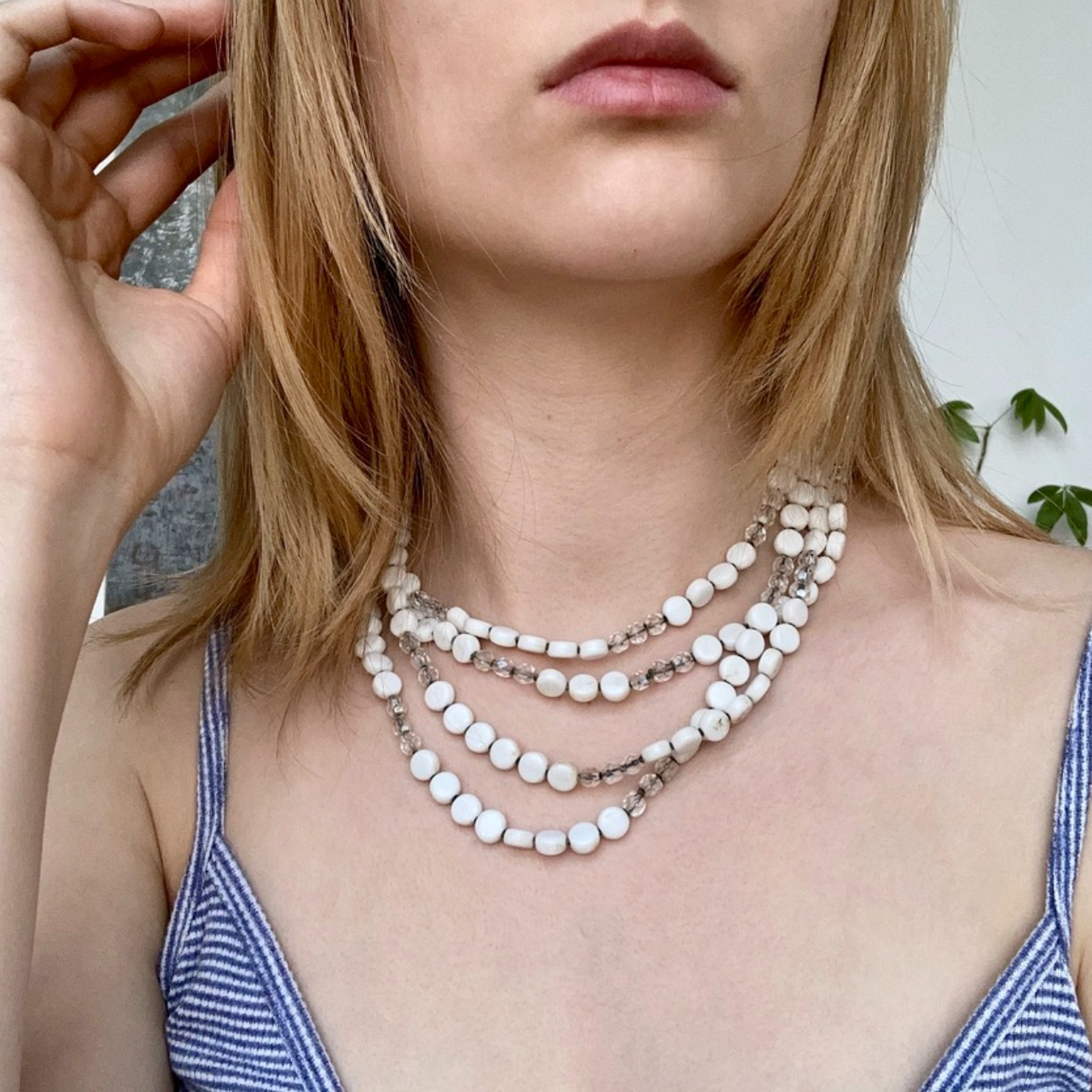 Product Image 1 - White and Silver Layered Beaded