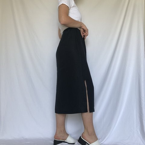 46f8570edb @goldyn_ink. in 13 hours. New York, United States. Vintage high waisted  100% linen black mid length skirt ...