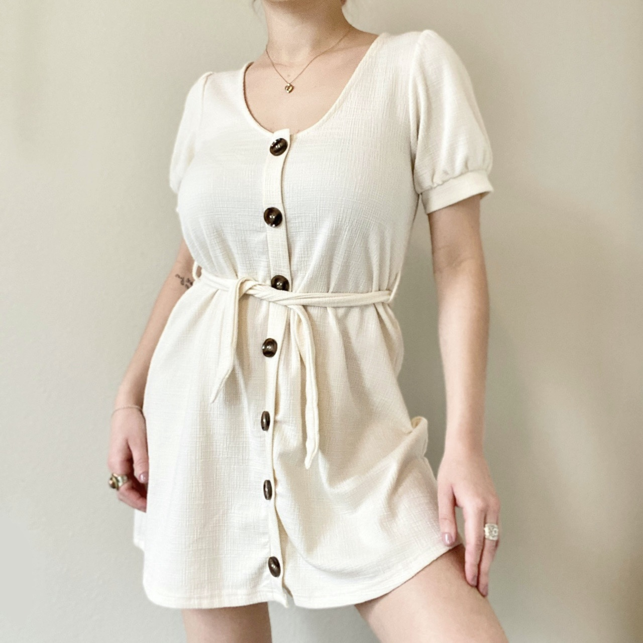 Product Image 1 - Adorable Cream Mini Dress with
