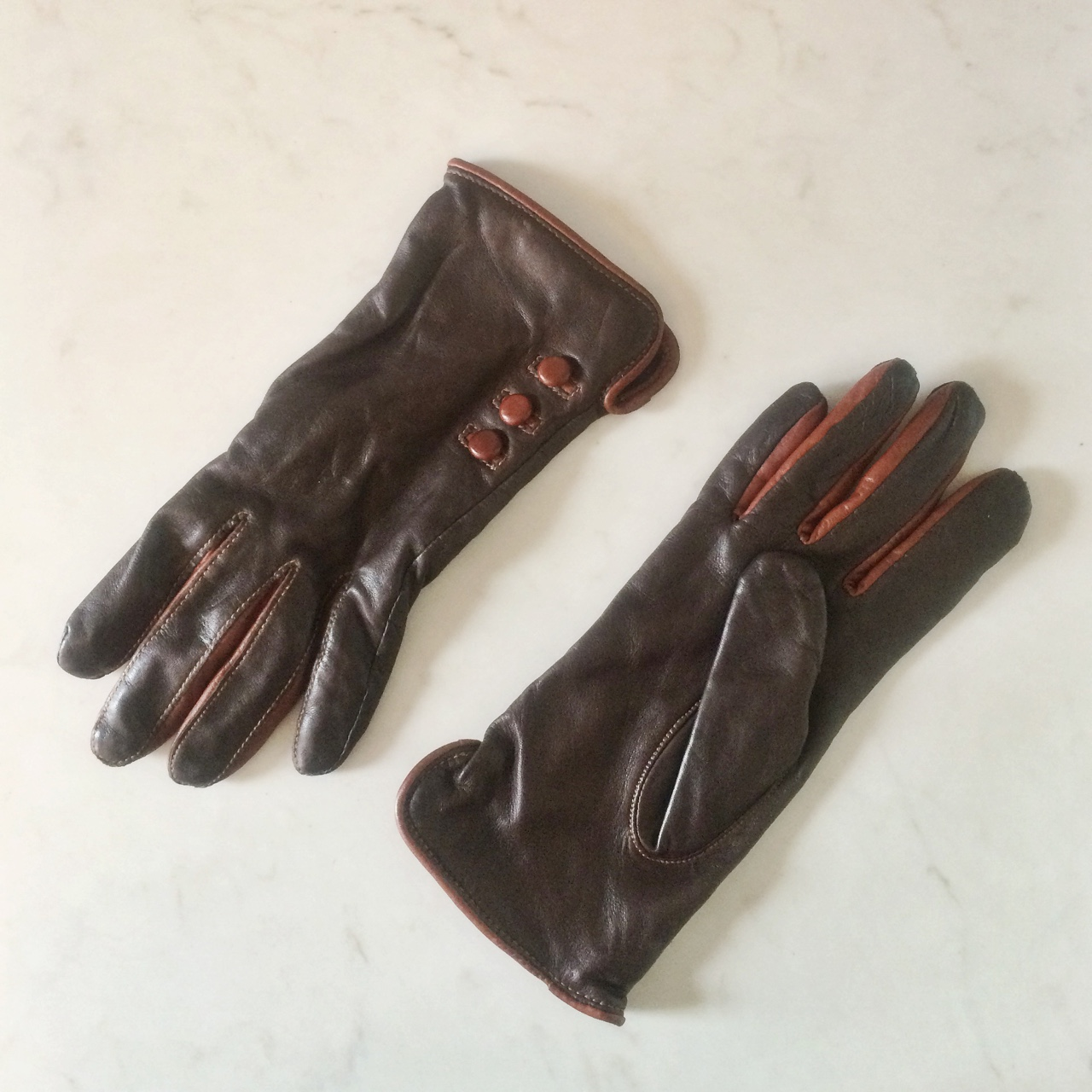 Two Tone Leather Gloves With Contrast 3 Lucy Mcgrath