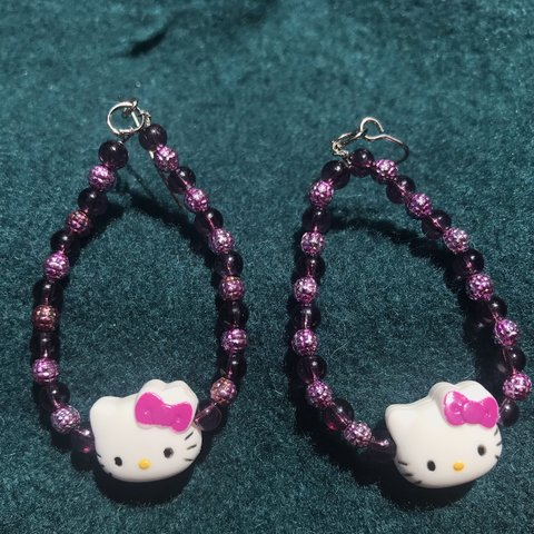 f5505ee8f Hello Kitty dangle earrings handmade by yours truly. The are - Depop