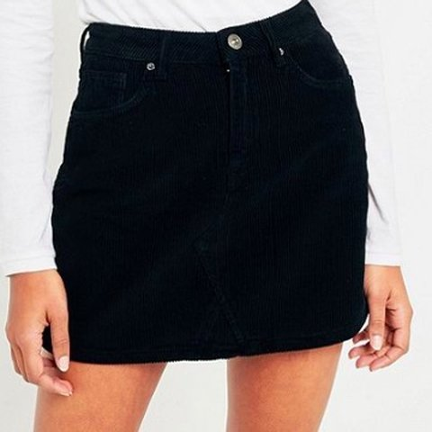 7dc49e42b7 URBAN OUTFITTERS BDG BLACK CORD NOTCH HEM SKIRT SIZE MEDIUM - Depop