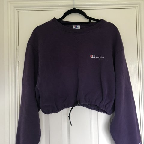 e2aa6089a @bxthrobson. 2 days ago. Darlington, United Kingdom. Vintage purple champion  cropped jumper with drawstring to adjust sizing ...