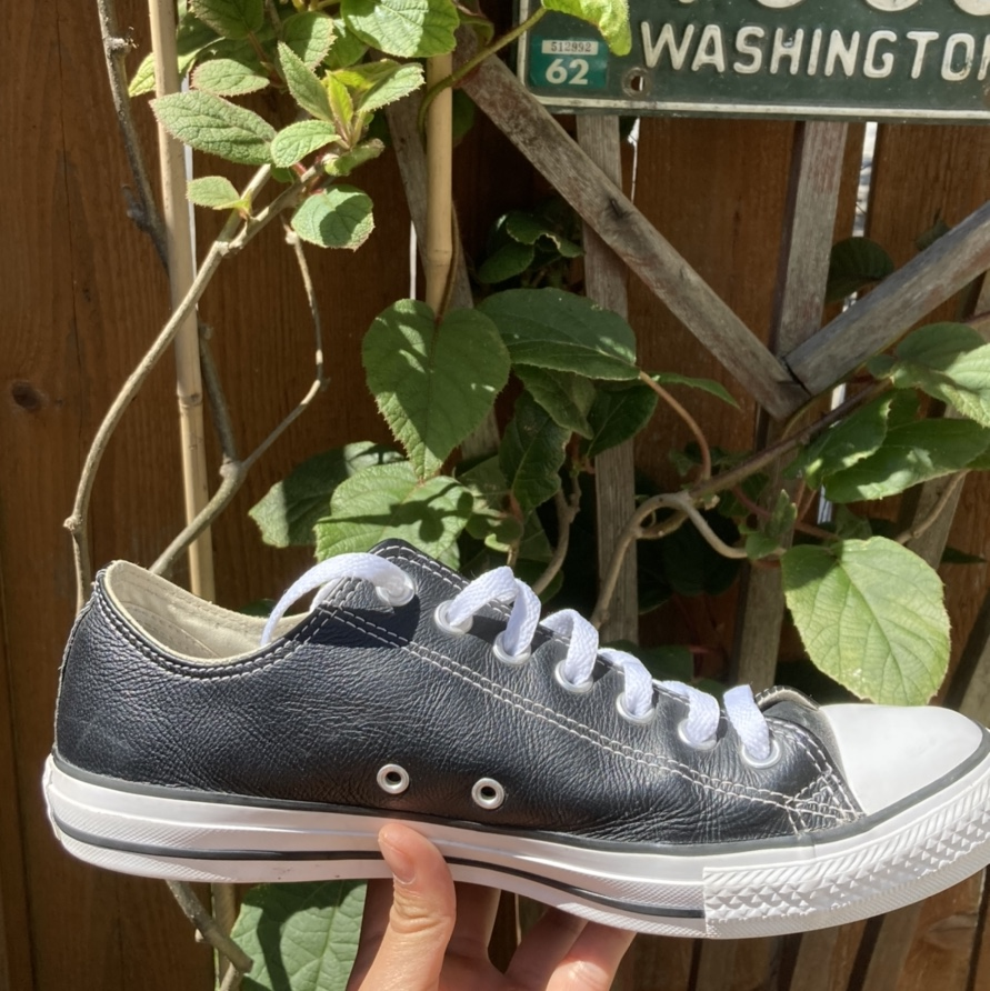 Product Image 1 - Good condition black leather converse!! Size