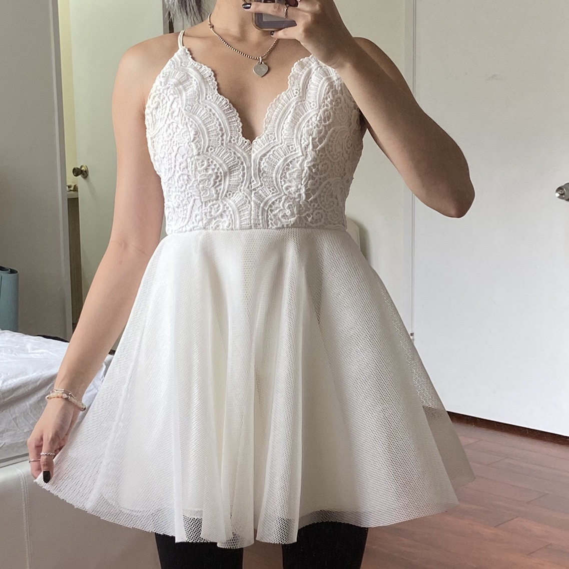 Product Image 1 - gorgeous white lace criss cross