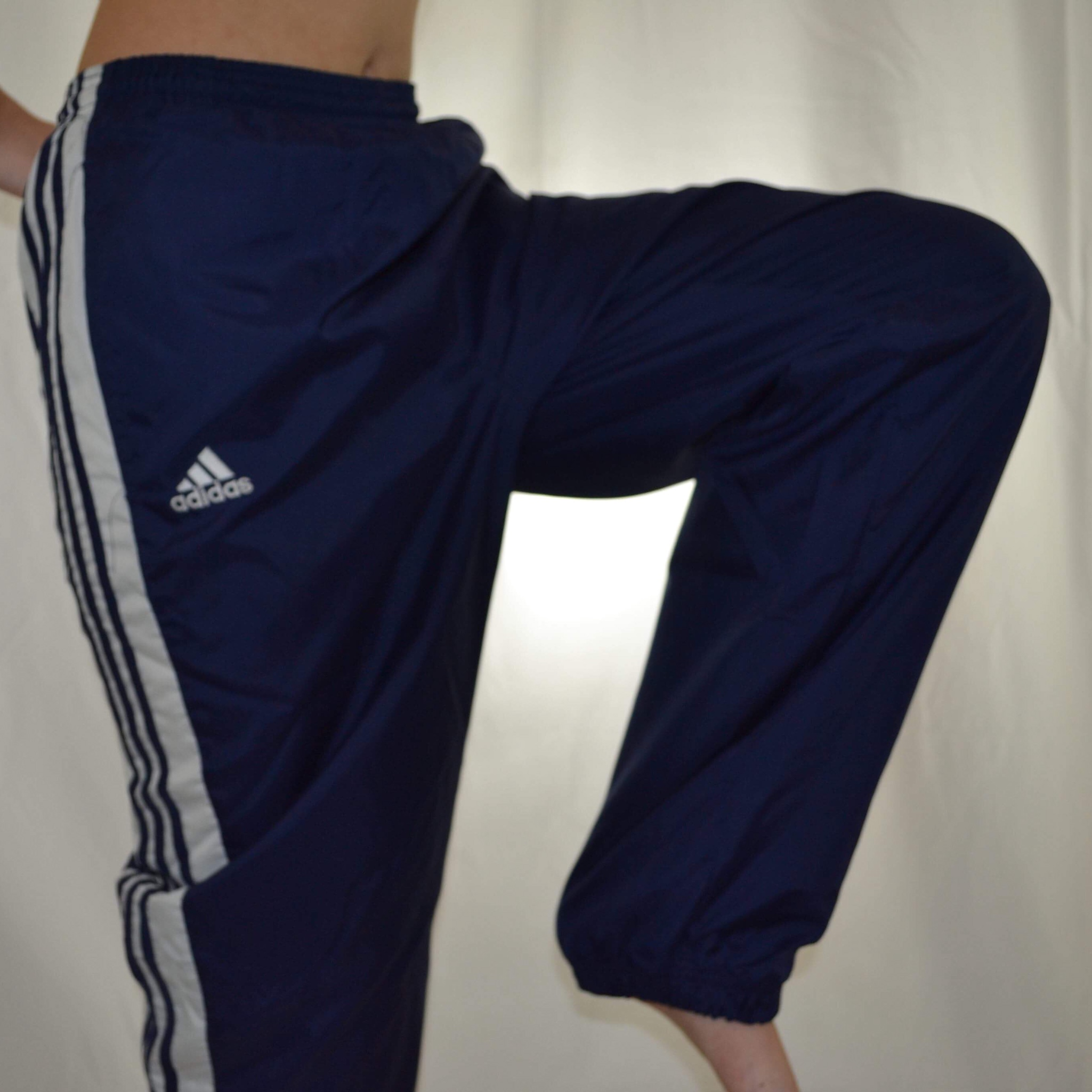 Adidas navy blue and white track pants. Men's... - Depop