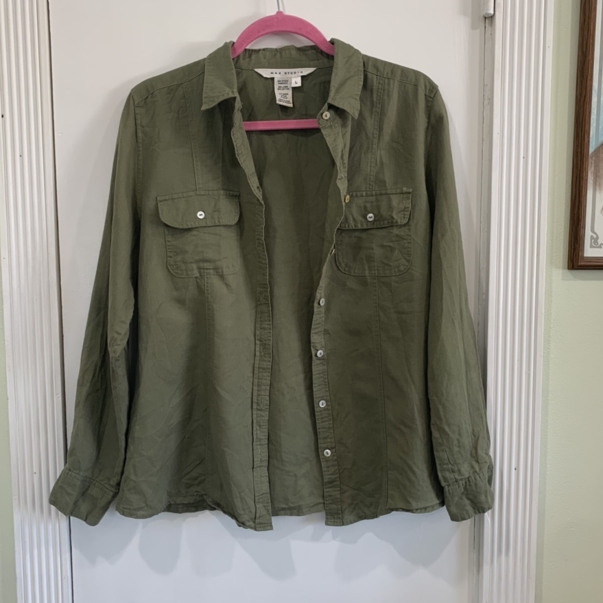 Product Image 1 - ARMY GREEN LONG SLEEVE BUTTON
