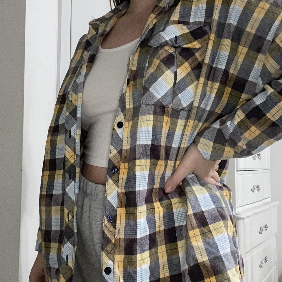 Product Image 1 - Oversized bleached/faded Flannel. Yellow, dark