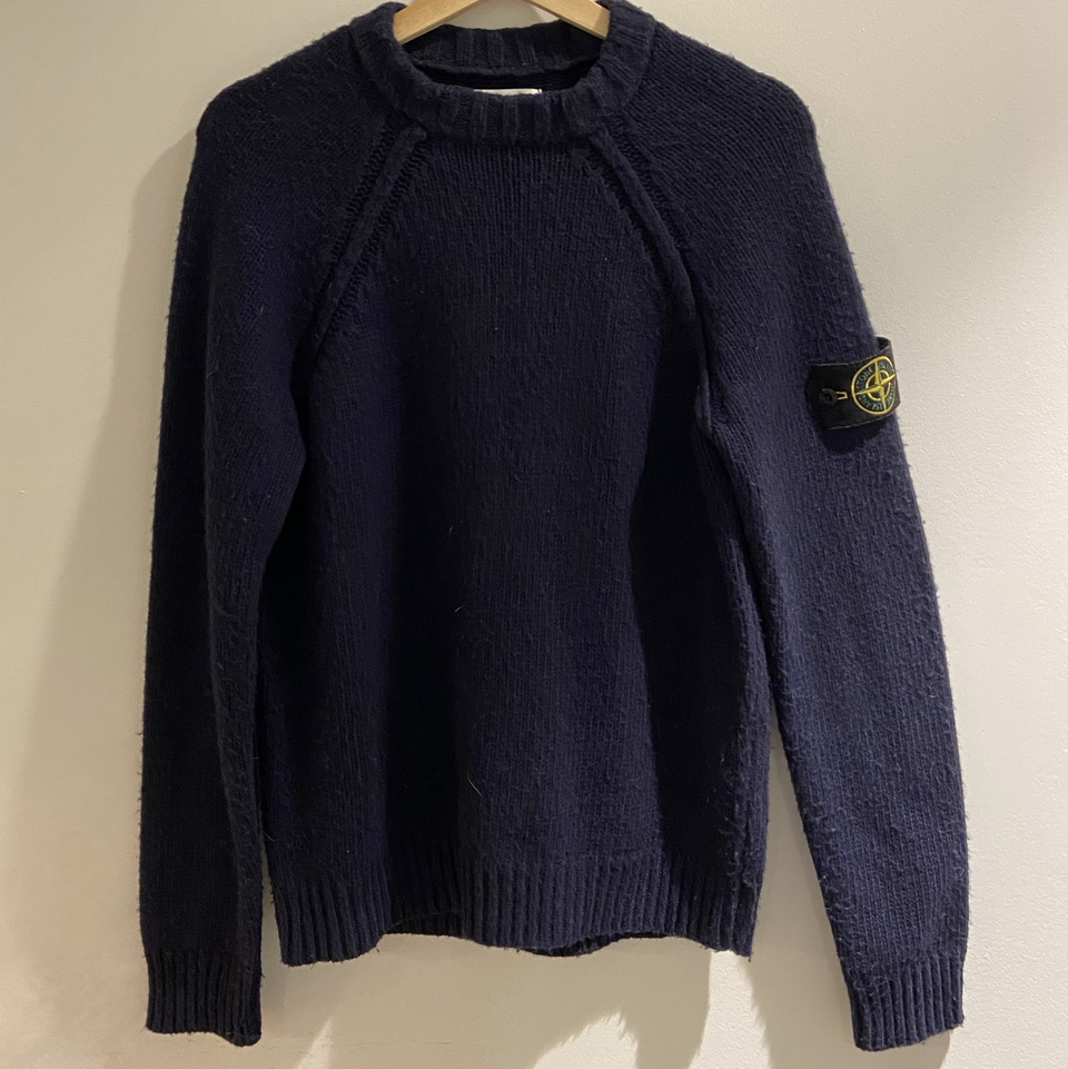 Product Image 1 - Stone island knit sweater  Condition:8.5/10 Color: Navy/Blue Size: