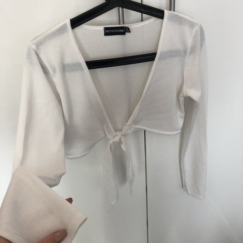 6795484bb4cb Pretty little thing PLT white thin knit knot front tie up or - Depop