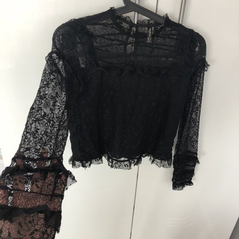 04dbf40c Zara trafaluc black lace long sleeve top Sleeves and neck a - Depop