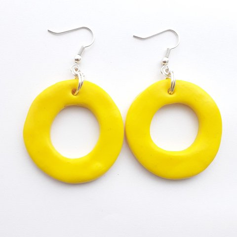 09dc82862 Handmade yellow polymer clay chunky hoop pendant earrings on - Depop