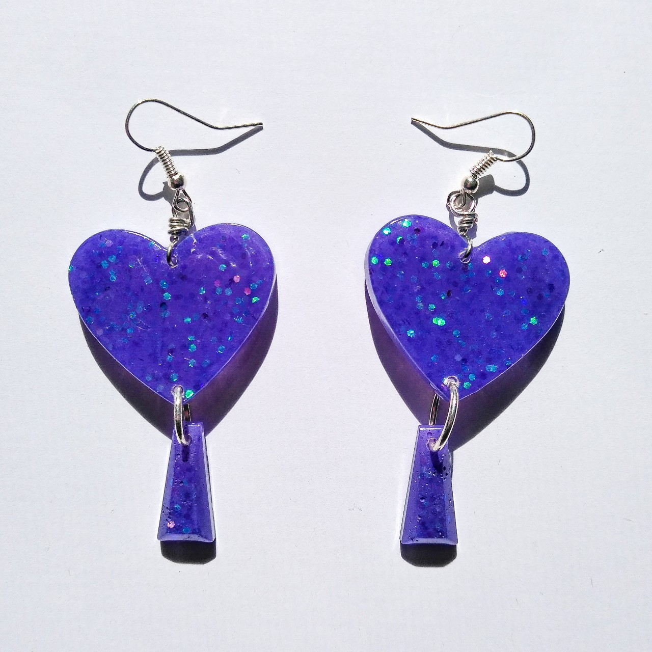 Product Image 1 - Handcrafted resin purple glittery heart