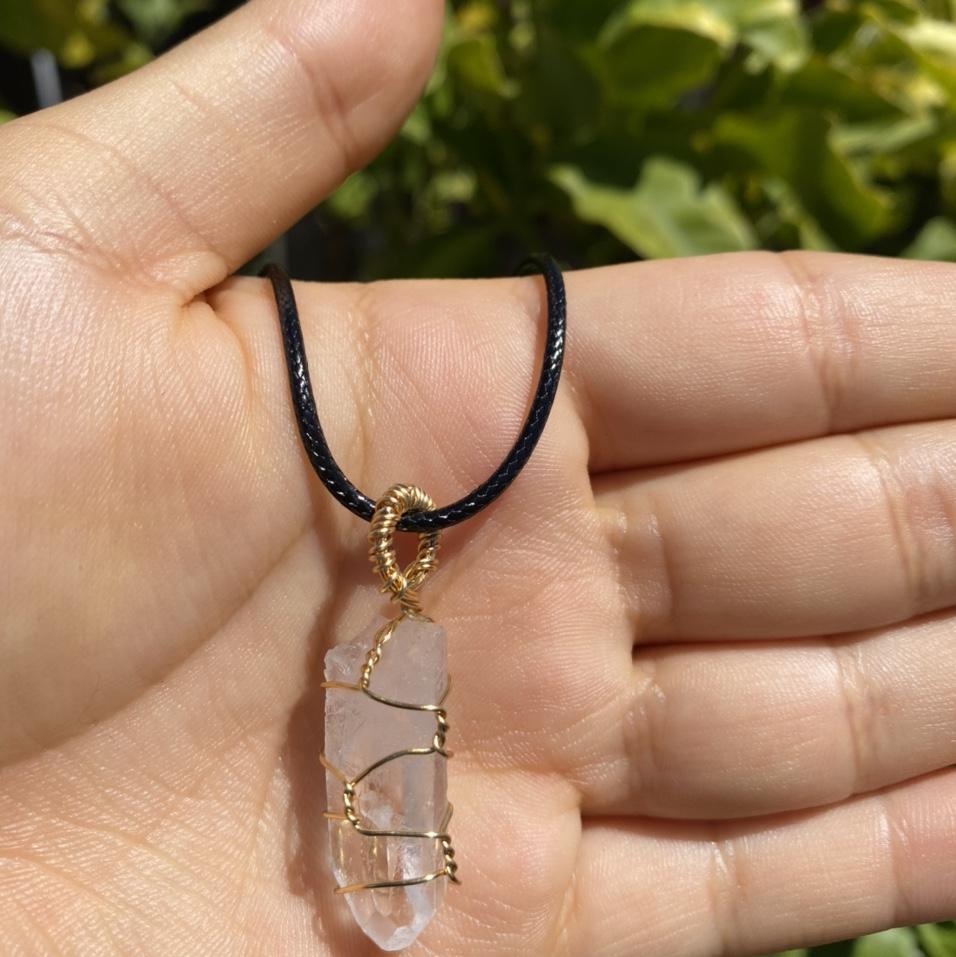 Product Image 1 - Clear quartz wire wrapped necklace.