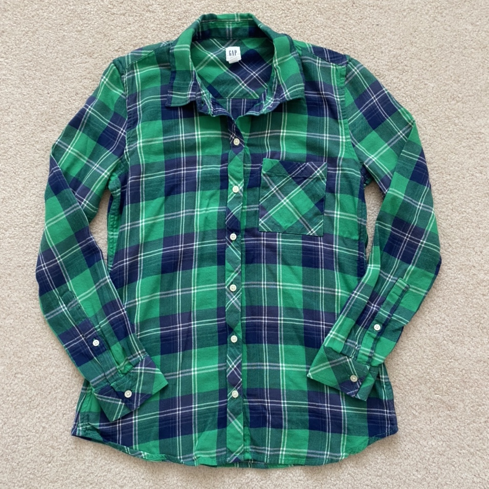 Product Image 1 - Green and navy blue flannel