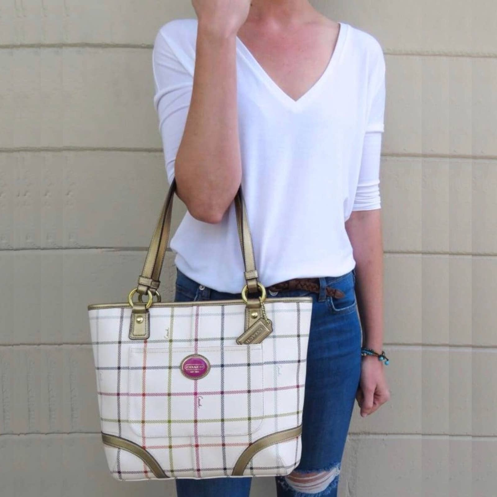 Product Image 1 - COACH HandbagWhite with Multicolor Plaid