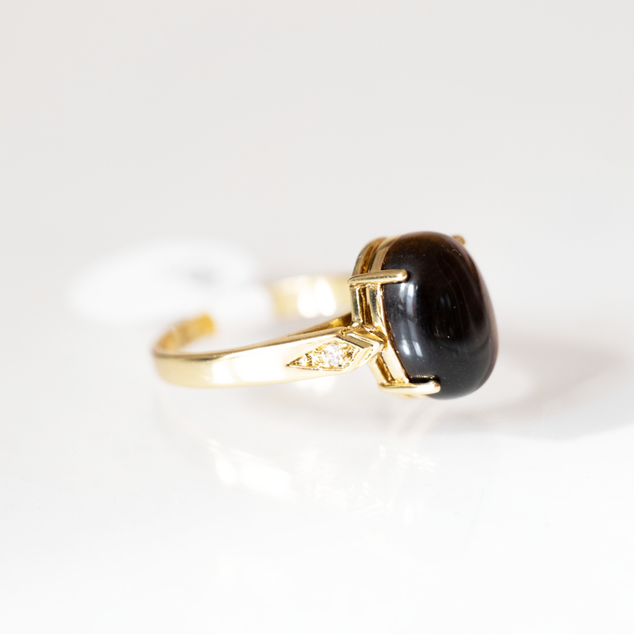 Product Image 1 - Gold Plated Oval Tiger Eye