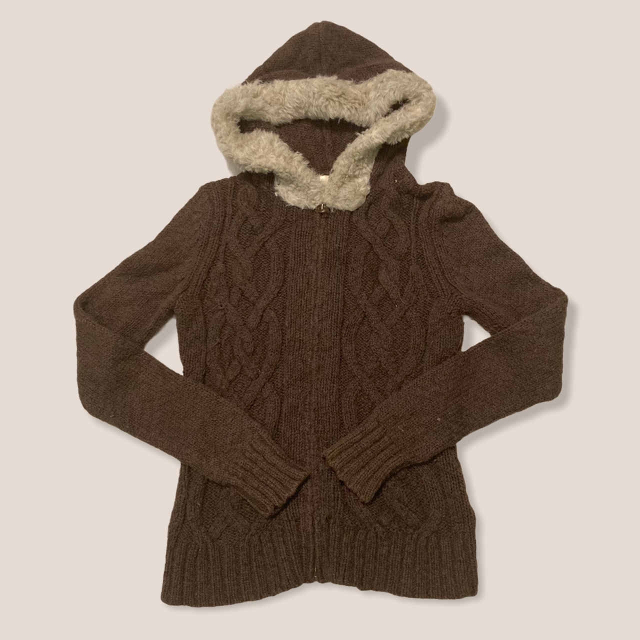 Product Image 1 - Brown Fairycore Zip Up Cardigan  Cable