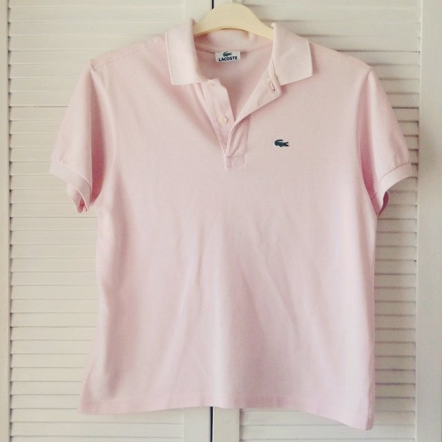 Vintage pastel baby pink lacoste polo emily caswell for Baby pink polo shirt