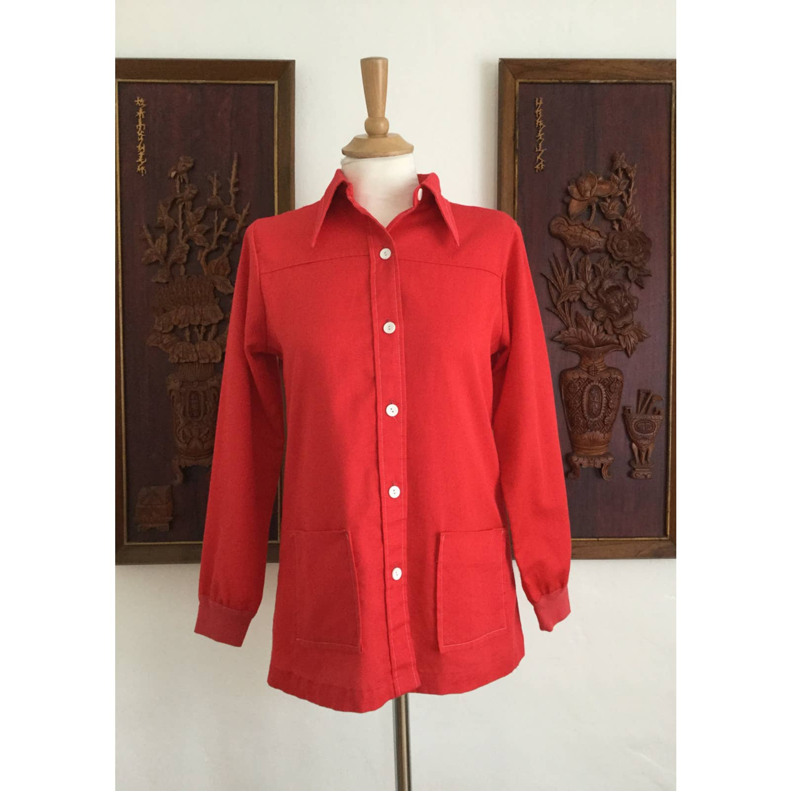 Product Image 1 - Vintage red long sleeve blouse.