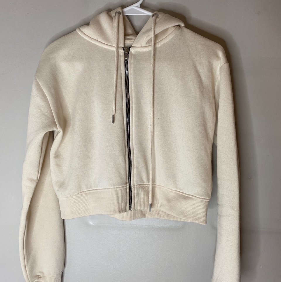 Product Image 1 - Cream cropped zip up jumper