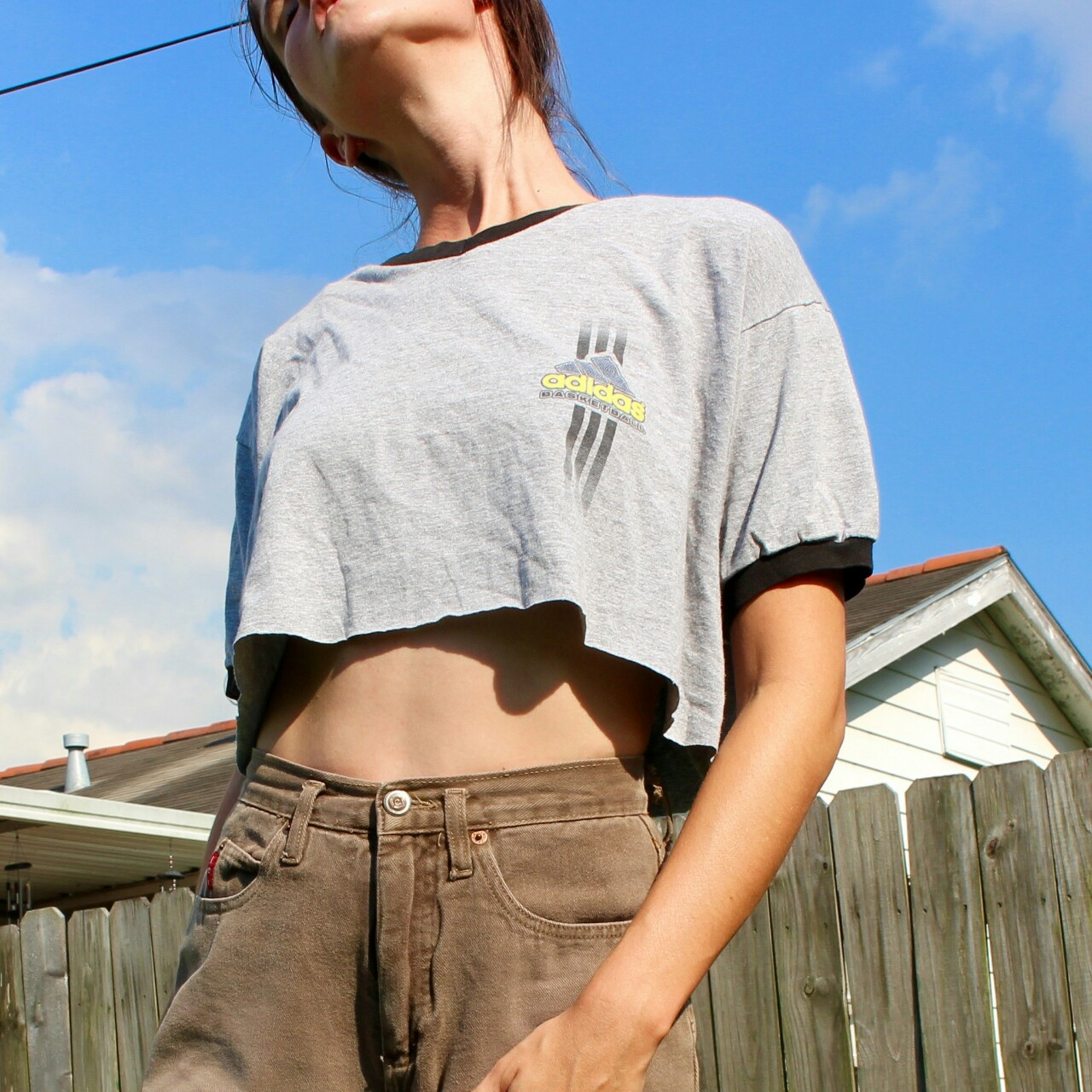 On Hold Oversized Vintage Cropped Adidas Jlynn
