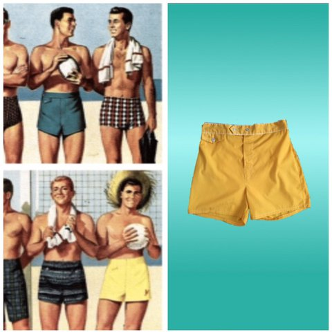 20f36bde05 1960s Yellow Mustard colored men's swim trunk. Size large an - Depop
